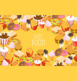 fast food background with hot dog ice drink vector image