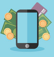 flat design colored concept for mobile banking vector image vector image