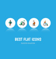 flat icon cripple set of injured handicapped man vector image vector image