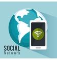 global social metwork smartphone internet vector image