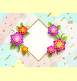greeting card with glitter gold frame and flowers vector image