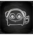Hand Drawn Alien with Headphones vector image