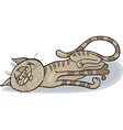 happy sleepy cat cartoon vector image vector image