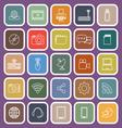 Hi tech line flat icons on violet background vector image vector image