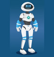 humanized futuristic robot at blue background vector image vector image