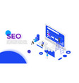 isometric seo analyses and optimization design vector image vector image