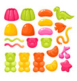 jelly gummy candy sweets set colorful glossy vector image