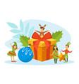 merry christmas cute tiny kids celebrating vector image