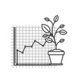 monochrome silhouette of growing and financial vector image vector image