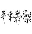 naked trees silhouettes hand drawn set vector image