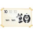 number ten panda worksheet vector image