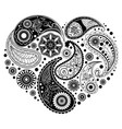 paisley heart design vector image vector image