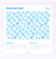 people and users concept with thin line icons vector image vector image