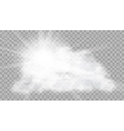 Realistic Cloud With Sun Flare On Transparent vector image vector image