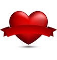red 3d heart with ribbon vector image