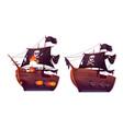 sea battle wooden ship pirate sailboat vector image