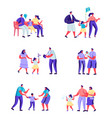 set flat people happy moments family vector image