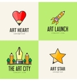 Set of art concept icons vector image