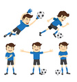 Set of Funny soccer football player wearing blue vector image
