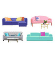 set of modern colorful soft sofas with upholstery vector image