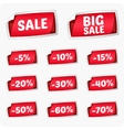 Set of red stickers for discount vector image vector image