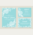 set wedding cards vector image vector image