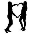 Silhouette two girls holding hands in heart shape vector image vector image