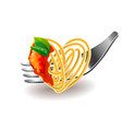 Spaghetti on fork isolated vector image vector image