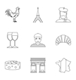 Stay in France icons set outline style vector image vector image