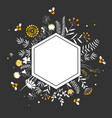 stylish hexagon frame with cute honey flowers and vector image vector image