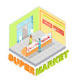 supermarket meat department isometric vector image vector image