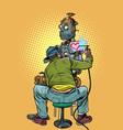 tattoo artist fills loving robot