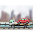 towing truck in city vector image