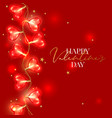 valentine day background with heart shaped light vector image