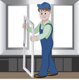 Worker installs or repairs plastic window vector image vector image