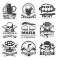 Street Wars Gangster Emblem Set vector image