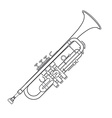 dark monochrome contour trumpet wind instrument vector image