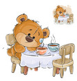 a brown teddy bear sitting vector image