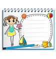 A notebook with a drawing of a young girl holding vector image vector image