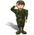 A smiling soldier doing a hand salute vector image vector image
