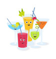 alcoholic cocktails in glasses with funny smiling vector image vector image