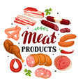 background with meat products of vector image vector image