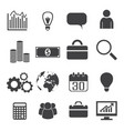 black white business icons set vector image vector image
