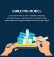 building model website banner 3d cityscape vector image