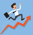 businessman running on a growing graph vector image vector image