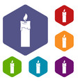 candle icons set hexagon vector image vector image