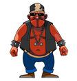 cartoon menacing man dressed in a biker vector image vector image