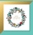 christmas and new year hand drawn holiday wreath vector image vector image
