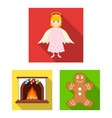 christmas attributes and accessories flat icons in vector image vector image