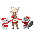 christmas reindeer with animal friends